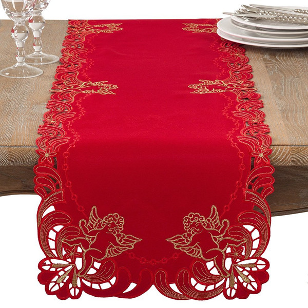 "Fennco Styles Emboridered Cupid Holiday Table Runner 16""x72"""