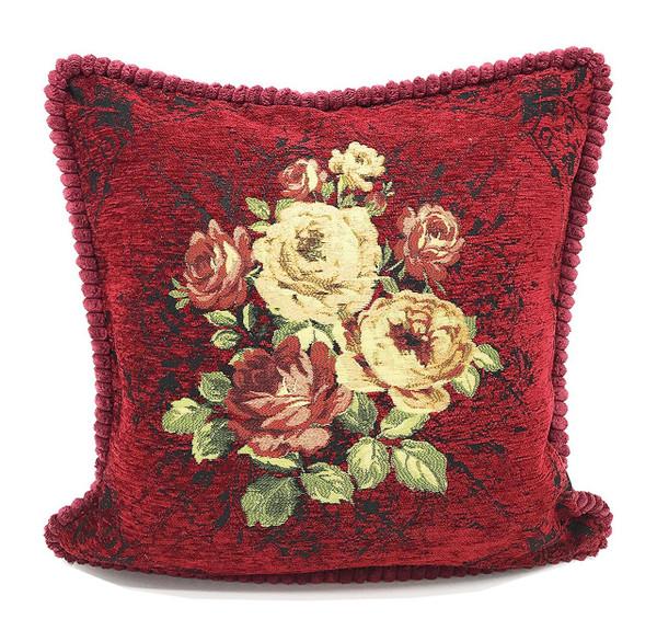 Fennco Styles Elegant Vintage Floral Woven Decorative Throw Pillow