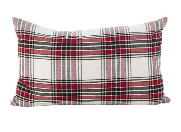 Fennco Styles Tartan Plaid Pattern Traditional Cotton Down Filled Throw Pillow