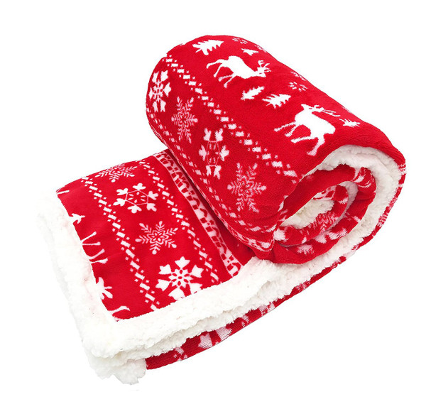 """Fennco Styles Christmas Sweater Throw with Sherpa - 50""""x60"""""""