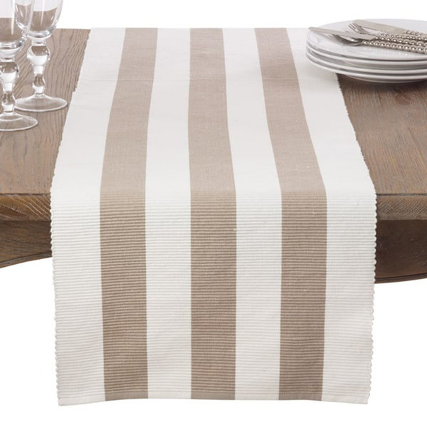 Classic Stripe Design Ribbed Cotton Table Runner & Napkin