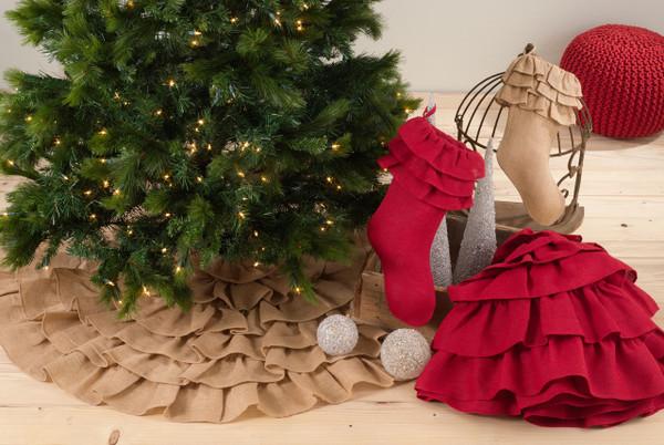 Fennco Styles Ruffled Design Christmas Tree Skirt