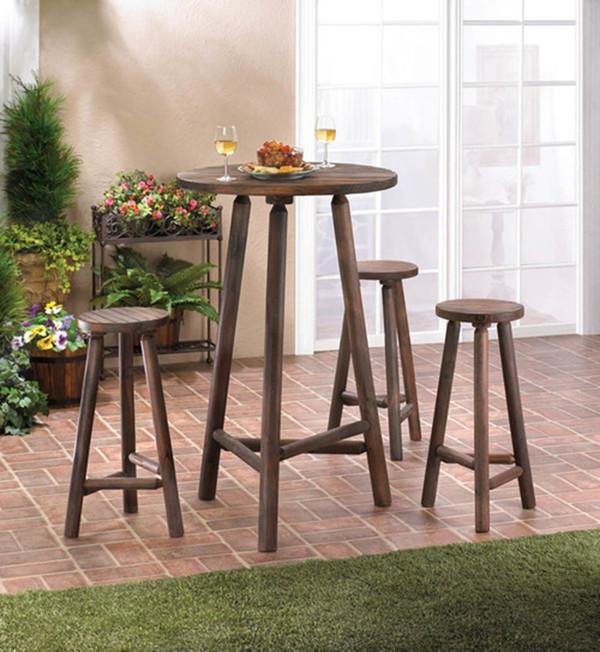 Fennco Styles Fir Wood Bar Table And Stool 4 Piece Set