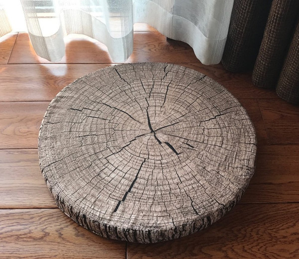 """3D Wood Print Creative Pillow Seat Cushion, Many Uses, 15"""" Round-4 Designs"""