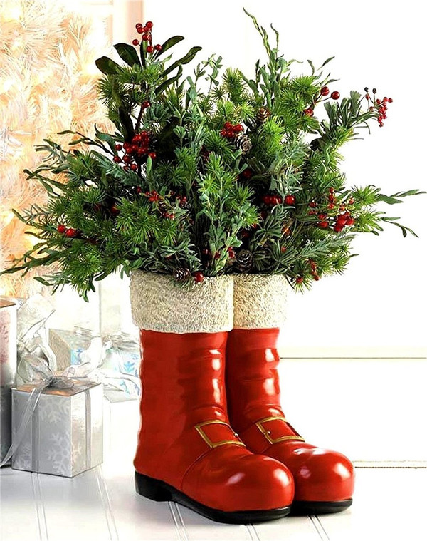 Fennco Styles Christmas Santa Red Boot Holiday Decorative Vase