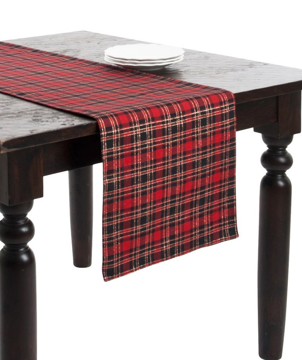 "Highland Holiday Red and Black Plaid Table Runner, 16""x72"" Rectangular"