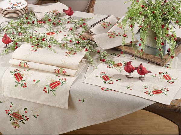 Fennco Styles Embroidered Ornament Design Christmas Holiday Linen Blend Table Collection
