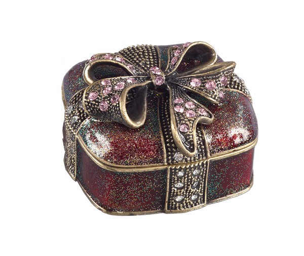Fennco Styles Decorative Bejeweled Ribbon Christmas Present Gift Box