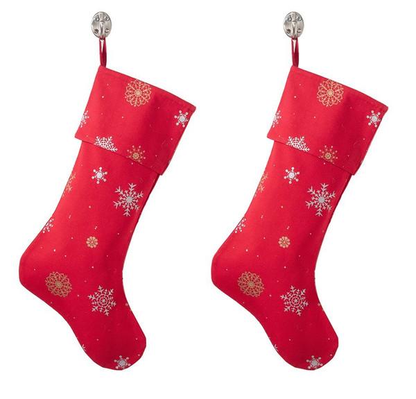 Snowflake Design Red Cotton Christmas Stocking