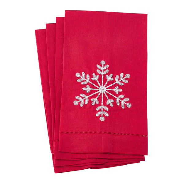 "Fennco Styles Embroidered Snowflake Hemstitched Linen Cotton Guest Towel 14""x22"" - Set of 4"