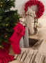 Geneviève Ruffled Design Cotton Christmas Stocking