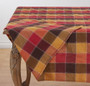"""Fennco Styles Holiday Thanksgiving Stitched Plaid Table 70"""" x 70"""" Square Tablecloth"""