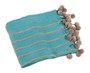 Chic Pompon Striped Throw Blanket, Turquoise