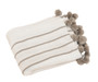 Chic Pompon Striped Throw Blanket, Ivory