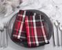 Fennco Styles Glendora Collection Classic Plaid Design Cotton Table Cloth Napkin/ Table Runner