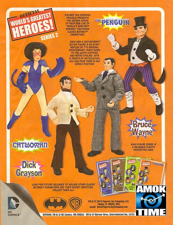 "Batman Retro Series 2 8"" Retro Action Figures Bruce Wayne Dick Grayson Catwoman and The Penguin set of 4"