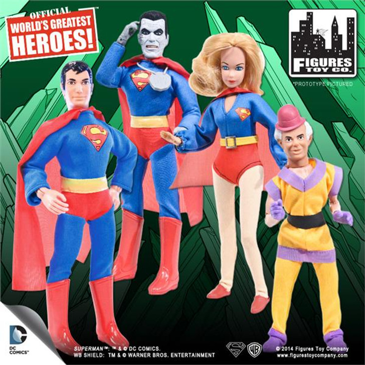 Superman Retro 8in Series 1 Set of 4 Superman Bizarro Mr. Mxyzptlk and Supergirl
