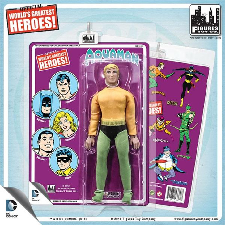 Figures Toy Co. DC Comics 8 Inch Action Figures With Mego-Like Retro Cards: Aquaman With Webbed Hands (Purple Card)