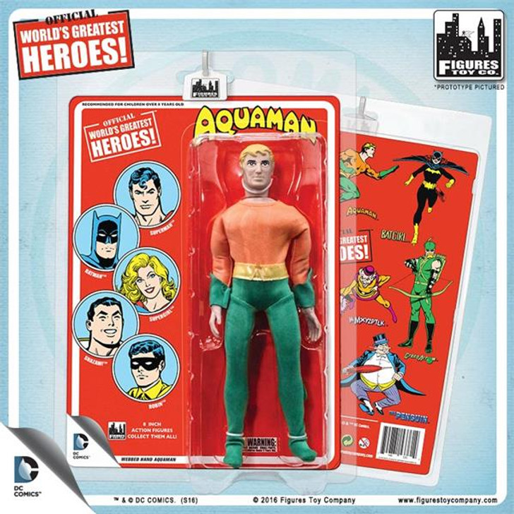 Figures Toy Co. DC Comics 8 Inch Action Figures With Mego-Like Retro Cards: Aquaman With Webbed Hands (Red Card)