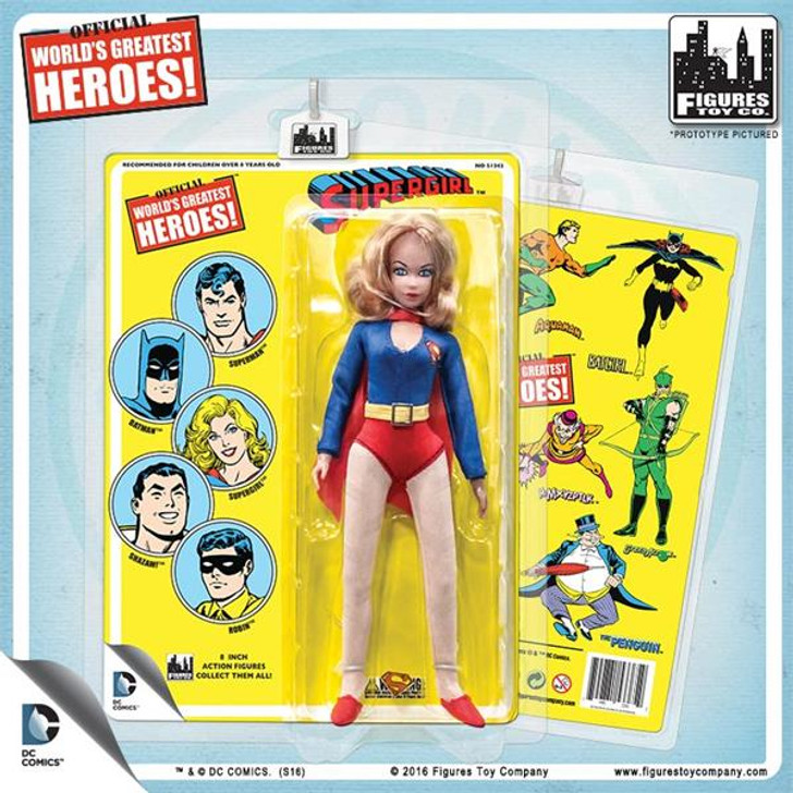 Figures Toy Co. DC Comics 8 Inch Action Figures With Mego-Like Retro Cards: Supergirl