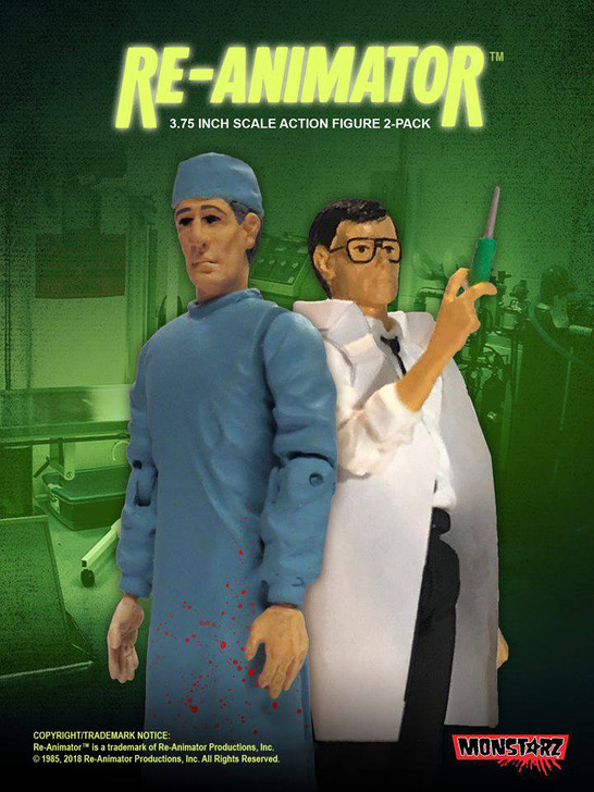 """Monstarz Re-Animator Dr. Herbert West and Dr. Carl Hill 3.75"""" Scale Retro Action Figure 2 pack"""