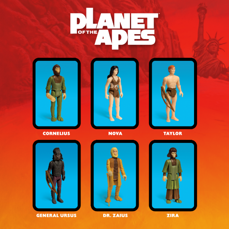 """Super7  Planet of the Apes 3.75"""" ReAction Action Figure Set of 6"""