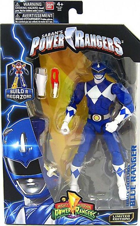 "Hasbro Mighty Morphin Power Rangers Blue Ranger 6"" Action Figure With Megazord Part"