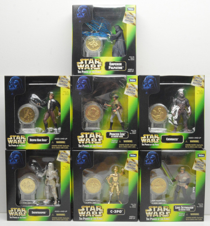 Kenner Star Wars New Millennium Minted Coin Collection Set of Seven 12in Action Figures