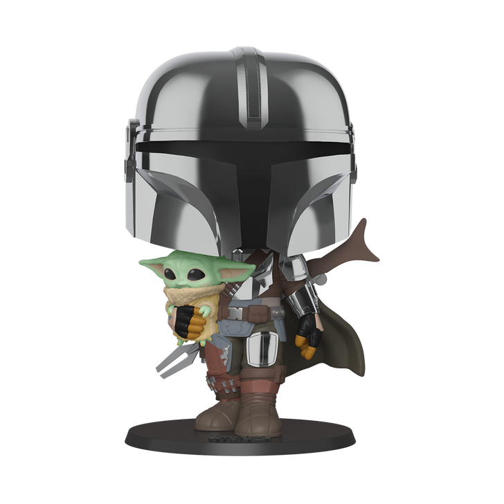 "Funko Pop! Star Wars The Mandalorian Chrome 10"" Super Size"