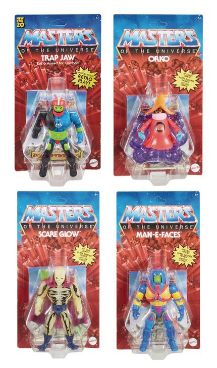 Mattel MOTU Origins Action Figure set of 4 Scareglo Orko Man E Face Trap jaw
