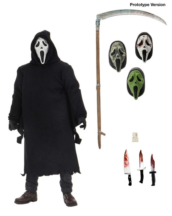 "NECA  SCREAM 7"" Scale Action Figure - Ultimate Ghost Face  Ghost Face, a costume worn by every villain in the Scream franchise, stands approximately 7″ tall, is dressed in an all fabric robe for full pose ability, and comes with a disturbing amount of sharp objects including 3 knives and a scythe. This Ultimate offering also comprises of 4 interchangeable heads including the original mask, the bloody variant, a zombie mask, and a glow in the dark mask.  Window box packaging"