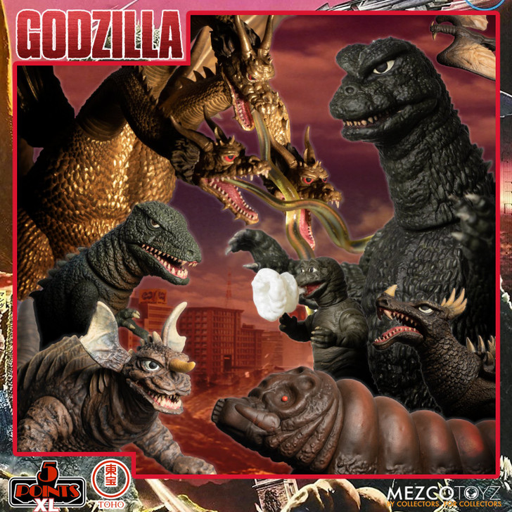 Mezco 5 Points Godzilla: Destroy All Monsters (1968) - Round 1 Boxed Set