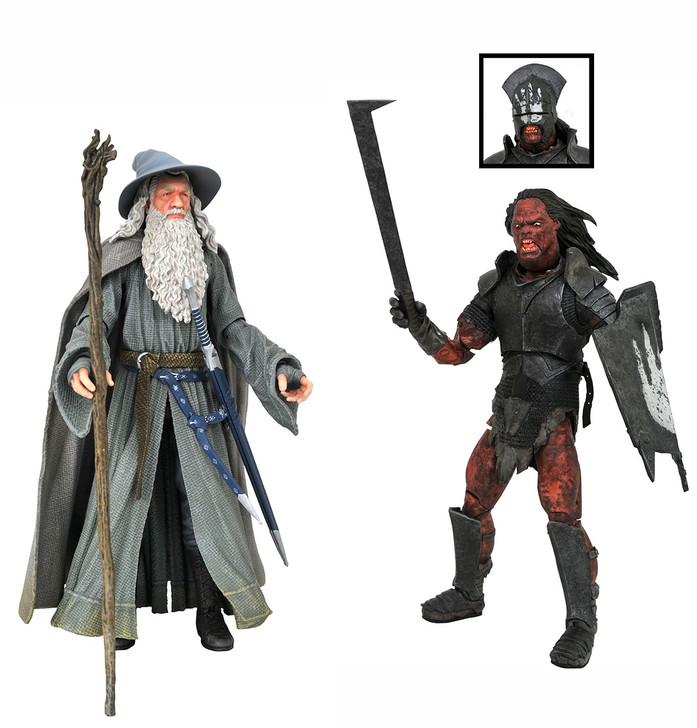 Diamond Select Lord of the Rings Gandalf and Uruk-Hai Orc action figure set