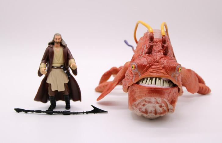 Hasbro Star Wars Phantom Menace Qui-Gon Jinn and Opee (No package)
