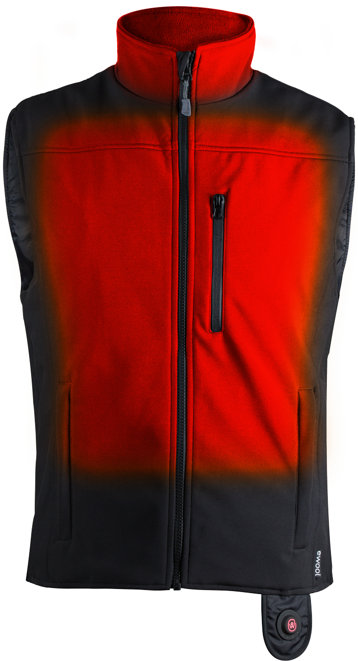 Front heating coverage of ewool® PRO heated vest