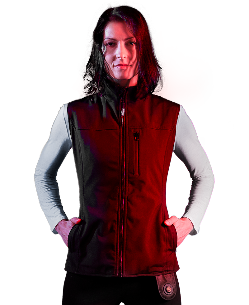 Confident woman wearing ewool PRO heated vest for women