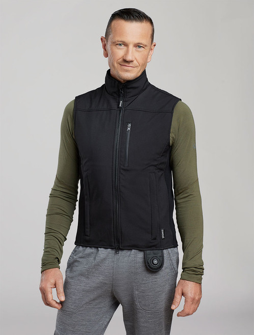 Man wearing ewool PRO+ heated vest, front view.