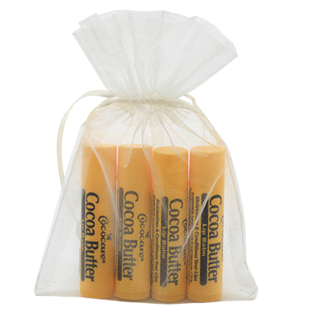Cocoa Butter Lip Balm 4 Piece Gift Bag.