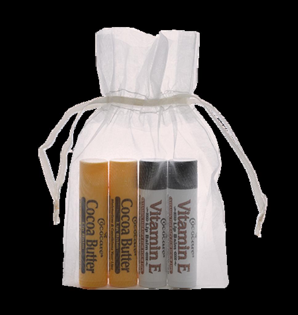 Cocoa Butter and Vitamin E  4 Piece Lip Balm Gift Bag