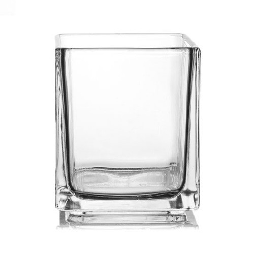 29cl Cube Clear Candle Glass