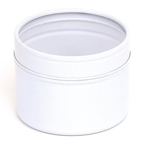 White 100ml Candle Tin with Window Slip Lid