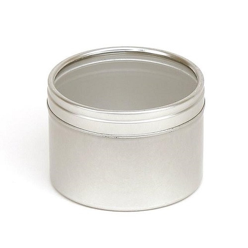 Silver 100ml Candle Tin with Window Slip Lid