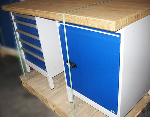 Garant Gridline Clearance Item: Garant Gridline Workbench with Right Side Cabinet 4 drawers on Left Side Bamboo Worktop 1500 mm
