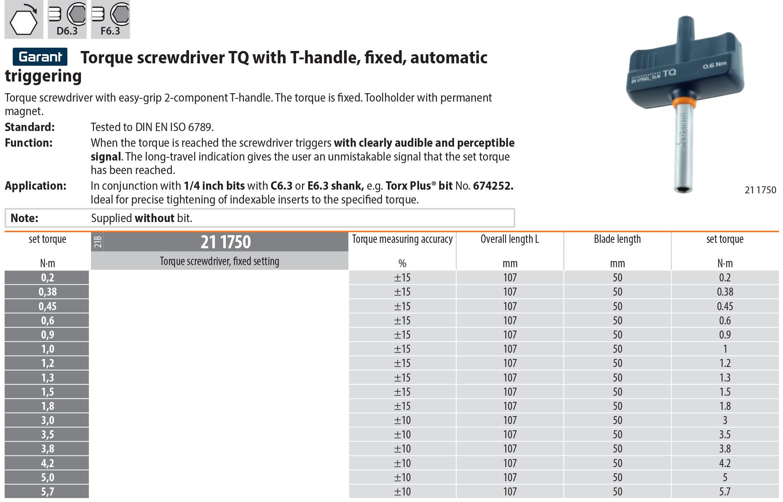 Garant Torque German Screwdriver TQ T-Handle Fixed Automatic Triggering T Handle torque screwdriver