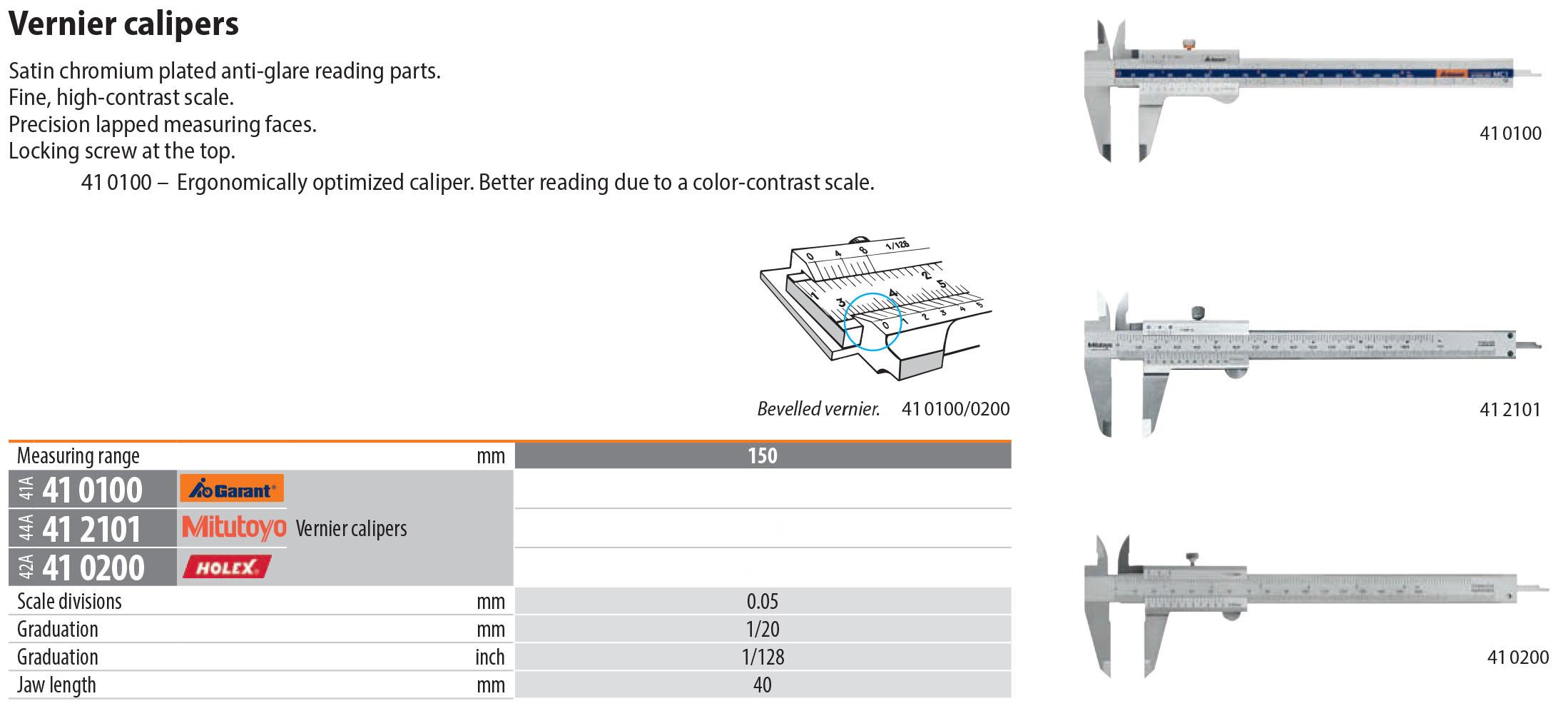 Holex German Vernier Calipers 150 mm Measuring Range