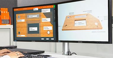 Hoffmann Group USA eShape Online Configurator allows for custom worktop designs.