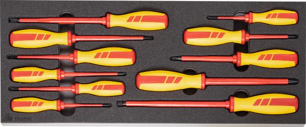 11 German Fully Insulated VDE Electrician's Screwdrivers Rigid Foam Inlay
