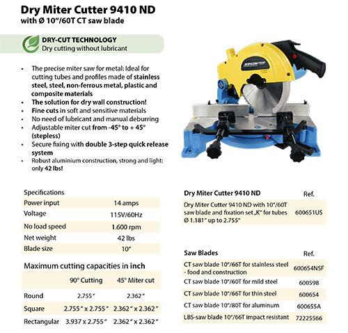 Jepson Dry German Miter Cutter Metal Circular Saw 9410ND Jepson Part 600651US