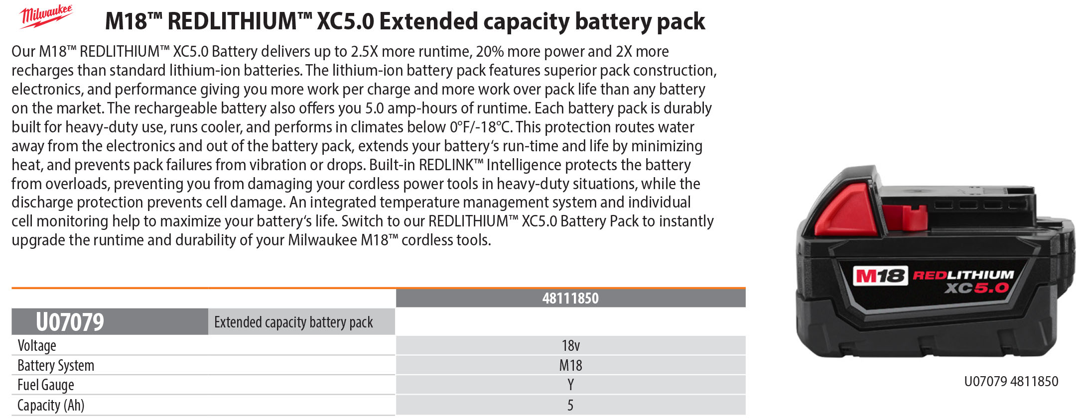 Milwaukee Tools M18™ REDLITHIUM™ XC5.0 Extended capacity battery pack
