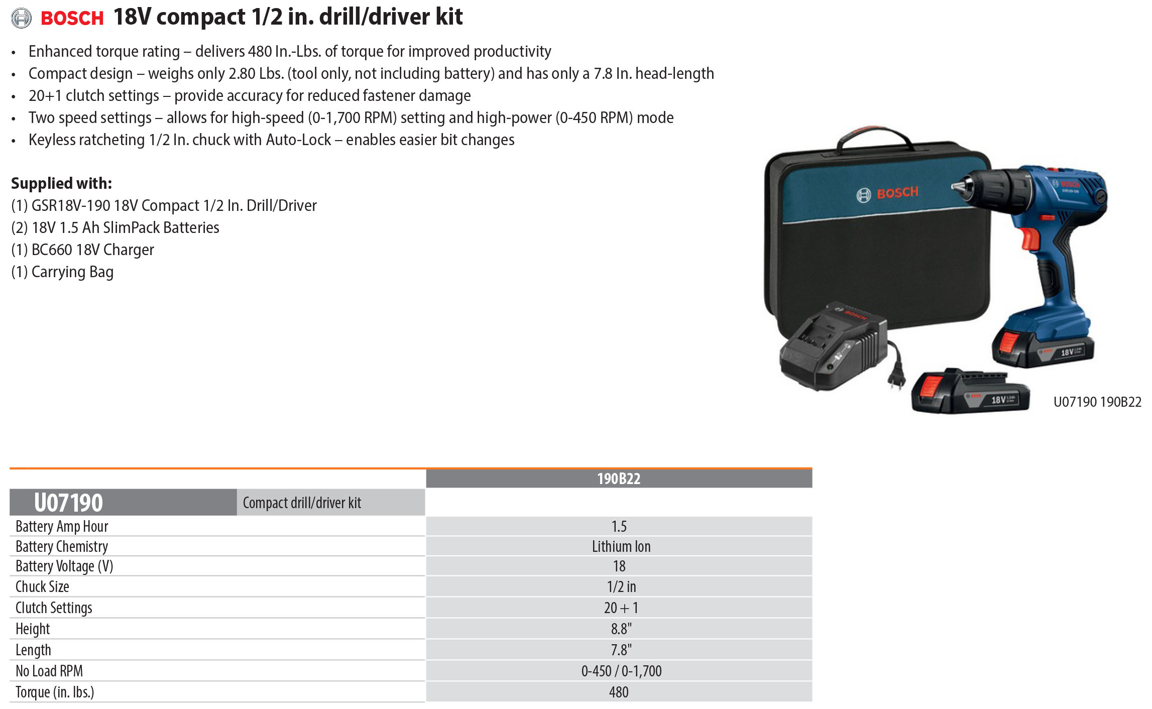 Bosch 18V compact 1/2 in. drill driver kit Bosch Drill Driver Kit